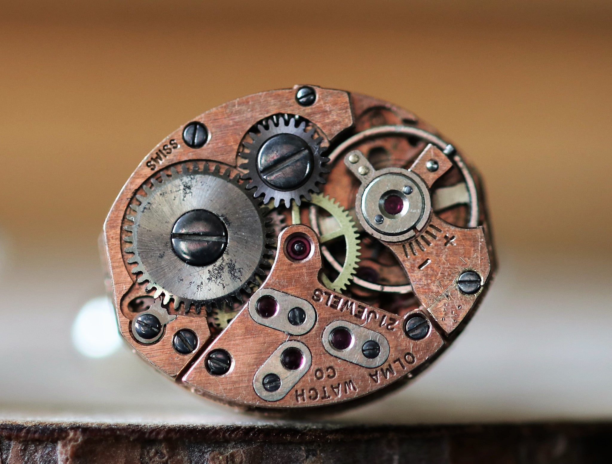 Rose Gold Oval Shaped Watch Movement Cuff Links - Olma Movement