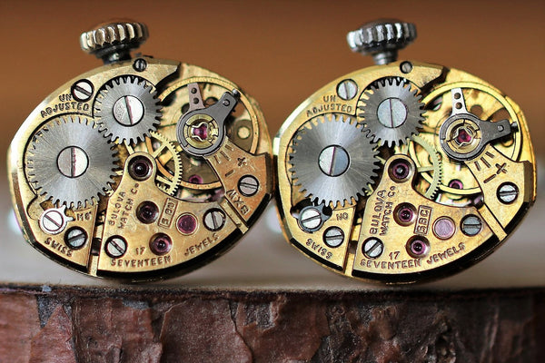 Golden Eyeball Shaped Watch Movement Cuff Links With Crown - Bulova Movement