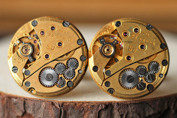 Golden Round Watch Movement Cuff Links