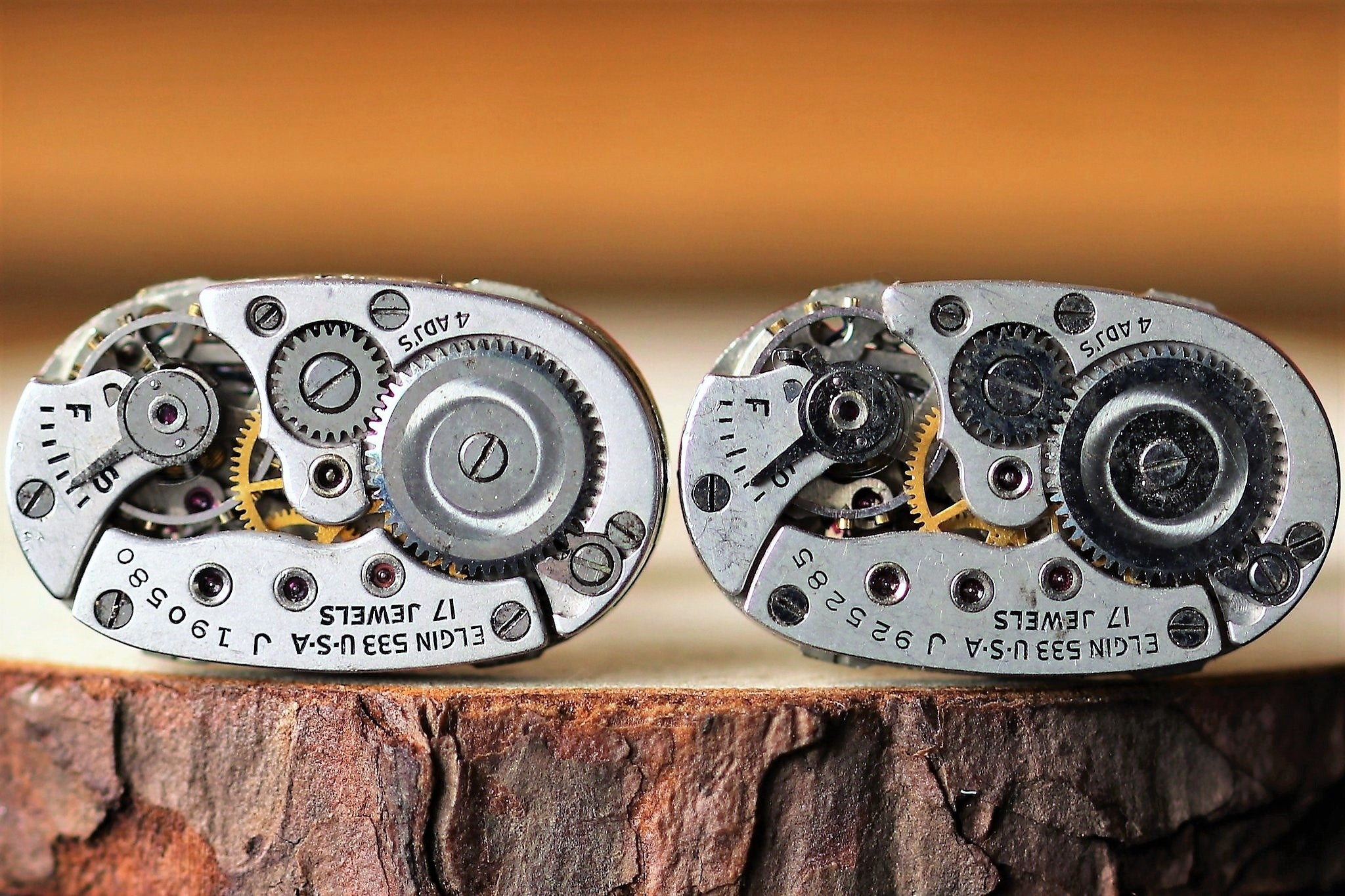 Oval Watch Movement Cuff Links - Elgin Movement
