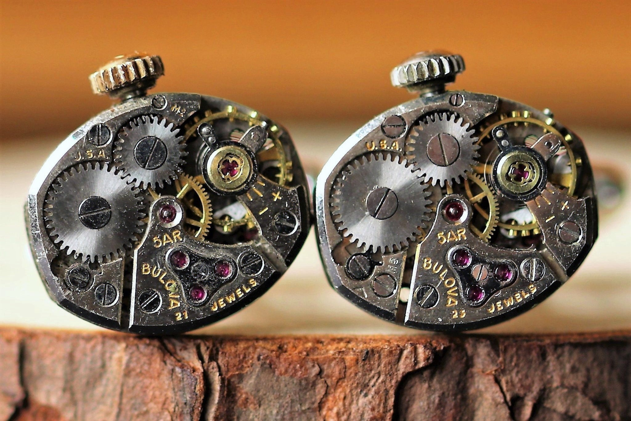 Ocular Watch Movement Cuff Links - Bulova Movement