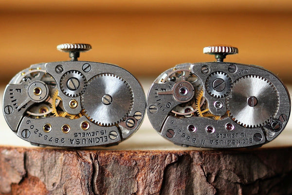 Oval Watch Movement Cuff Links With Crown - Elgin Movement