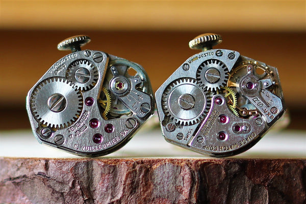 Diamond Shape Watch Movement Cuff Links With Crown