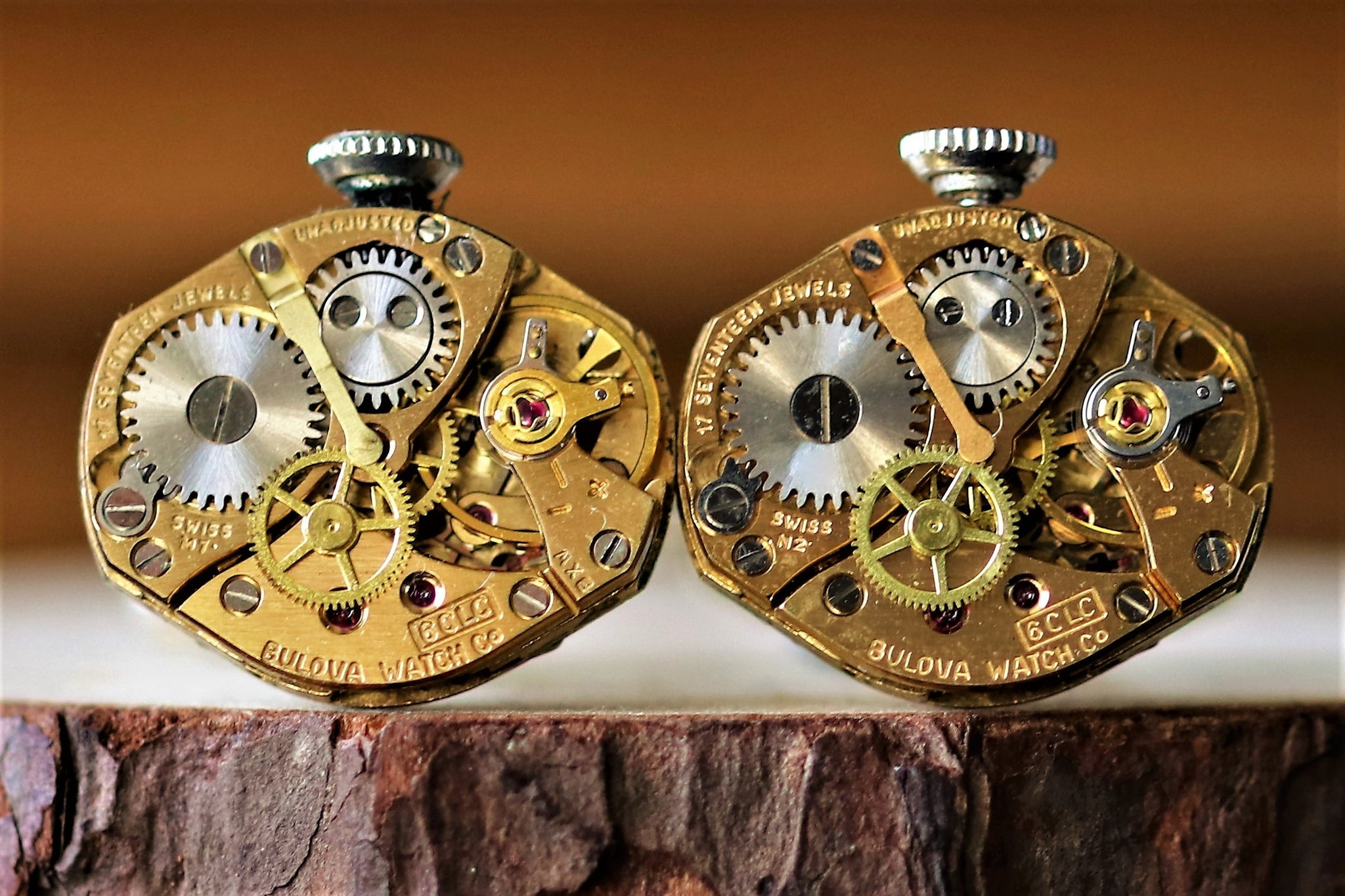 Golden Diamond Shaped Watch Movement Cuff Links - Bulova Movement