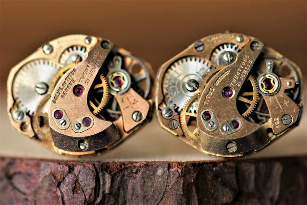 Rose Gold Diamond Shaped Watch Movement Cuff Links - Solvil & Titus Movement