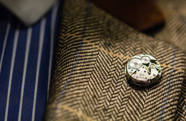 Round Watch Movement Lapel Pin