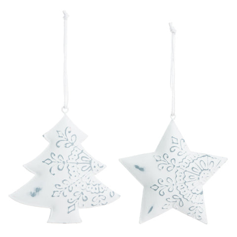 Ornament Tree/Star Metal White