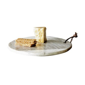 Cheese Board Marble w/ Leather Tie