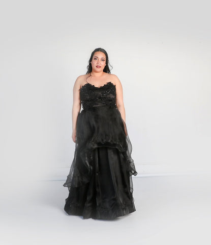 Barbera Gown with High-low Organza Skirt