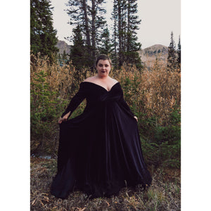 Raven Stretch Velvet Gown