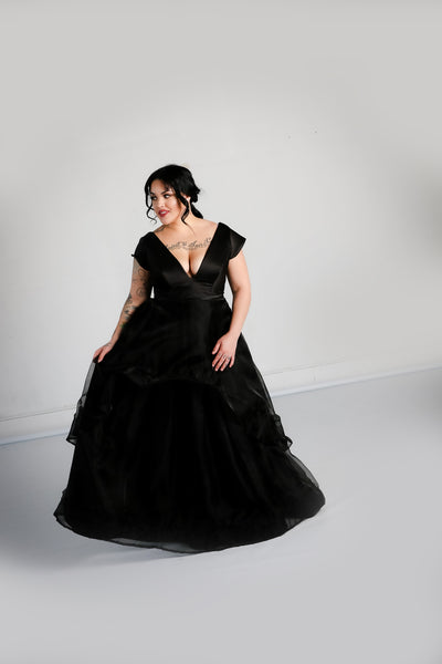 Nora Gown with High-low Organza Skirt
