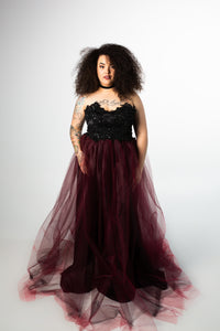 Barbera Gown with Beaded Tulle Skirt