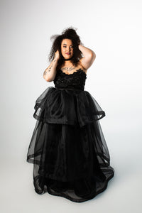 Barbera Gown with Tiered Organza Skirt