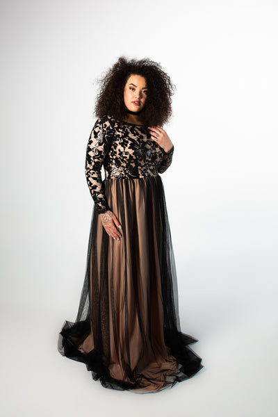 Noir Sequin Lace Gown