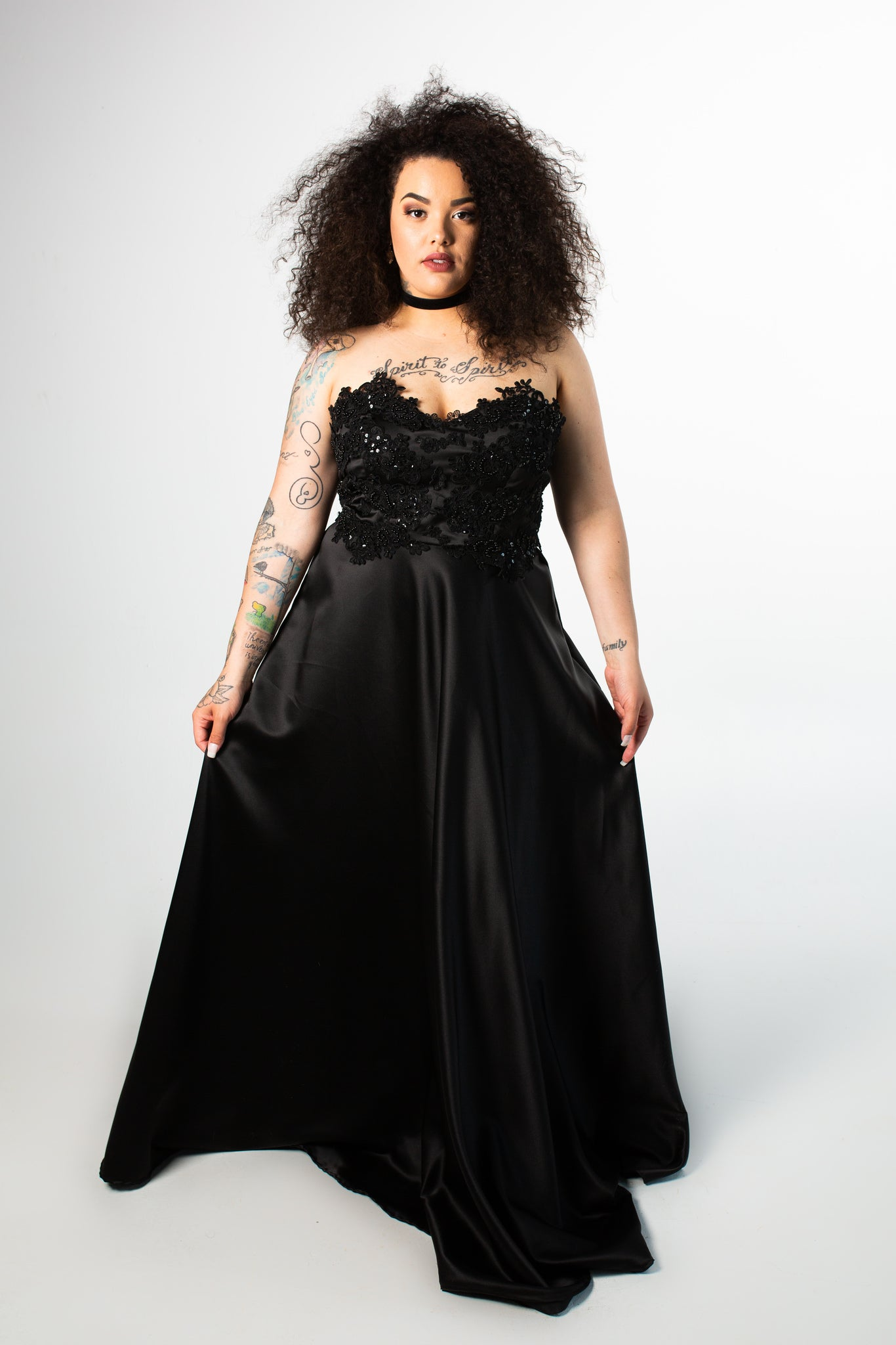 Barbera Gown with Satin Skirt