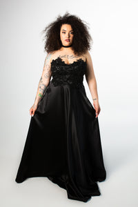 Sangria Satin A-Line Gown