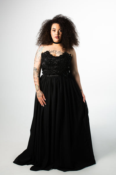 Beaded Chiffon A-line Gown