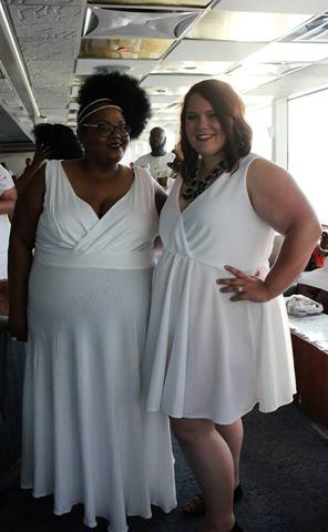Plus-size white party dress