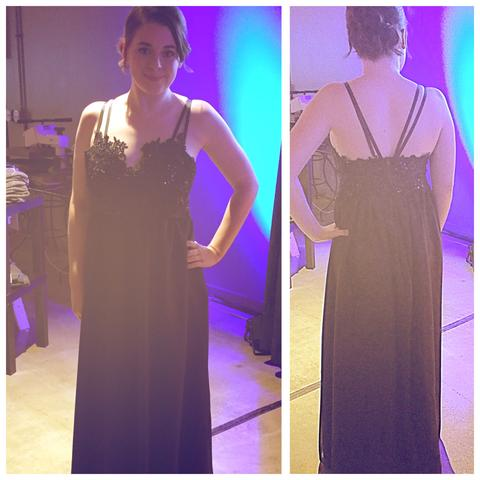 Navy beaded gala dress