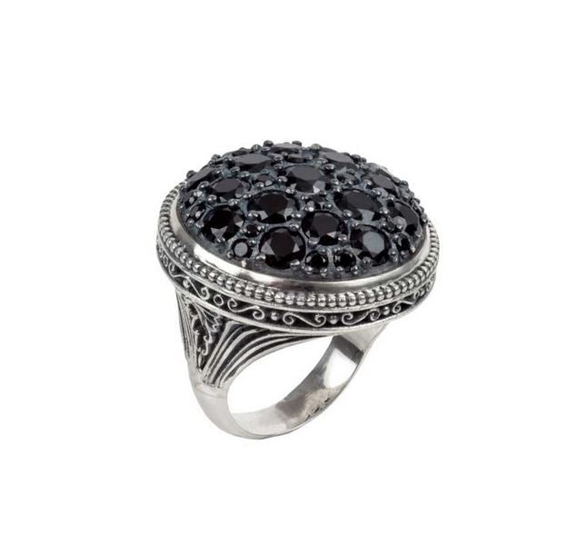 Circe Black Spinel Cluster Ring