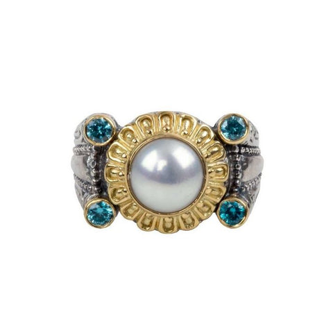 Thalia Pearl and Blue Spinel Ring