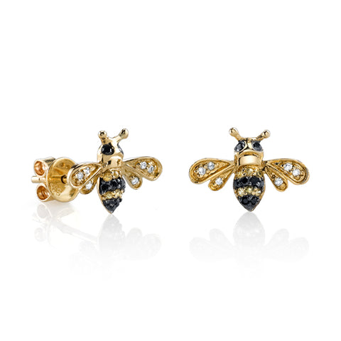 Mini Yellow-Gold & Diamond Bumblebee Stud Earrings