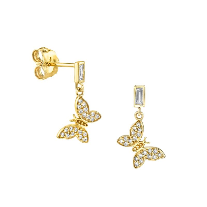 Gold & Baguette Diamond Tiny Butterfly Earrings