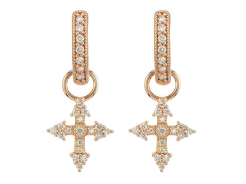 Provence Champagne Tiny Cross Earring Charm - Rose Gold