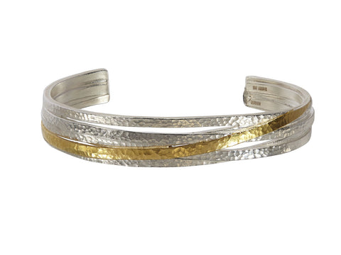 Multistrand Silver Cuff with Gold Stripe