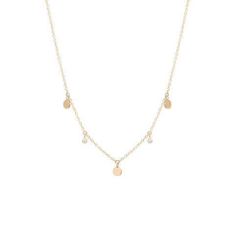 14k 3 itty bitty dangling disc & diamond necklace