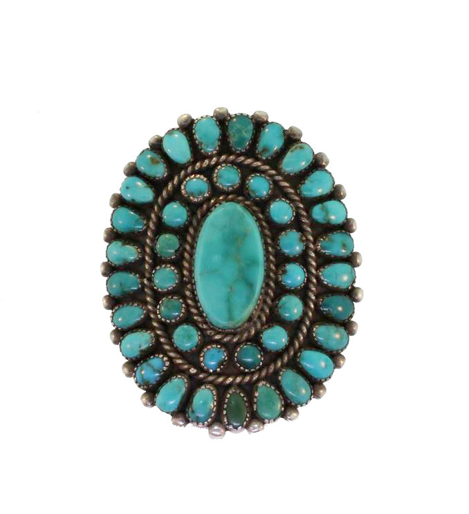 Vintage Large Turquoise Cluster Ring