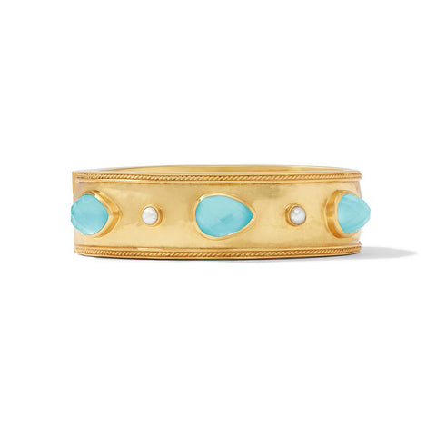 Cassis Statement Hinge Bangle with Iridescent Bahamian Blue