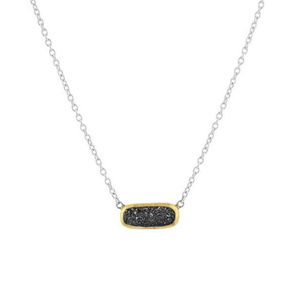 Mystere Blakc Druzy Solitaire Necklace