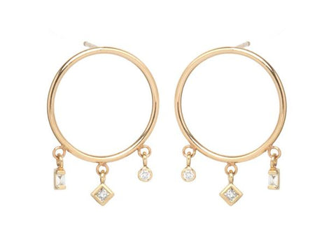 Small Circle Earrings with Princess, Baguette, and Bezel Diamonds