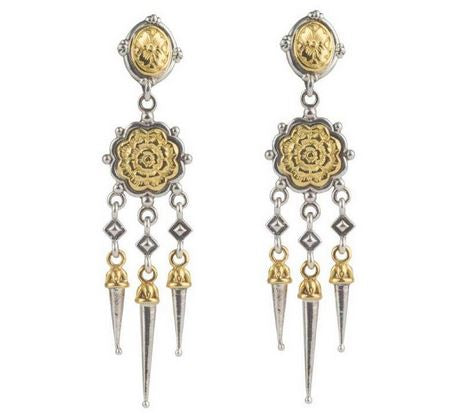 Rosette Dagger Dangle Earrings