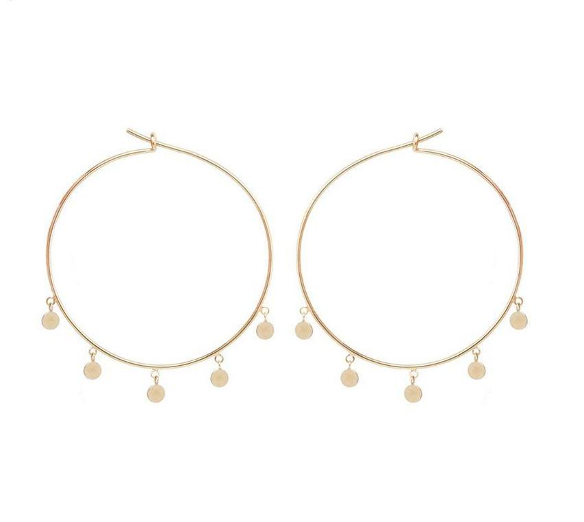 Dangling Disc Hoops - Medium