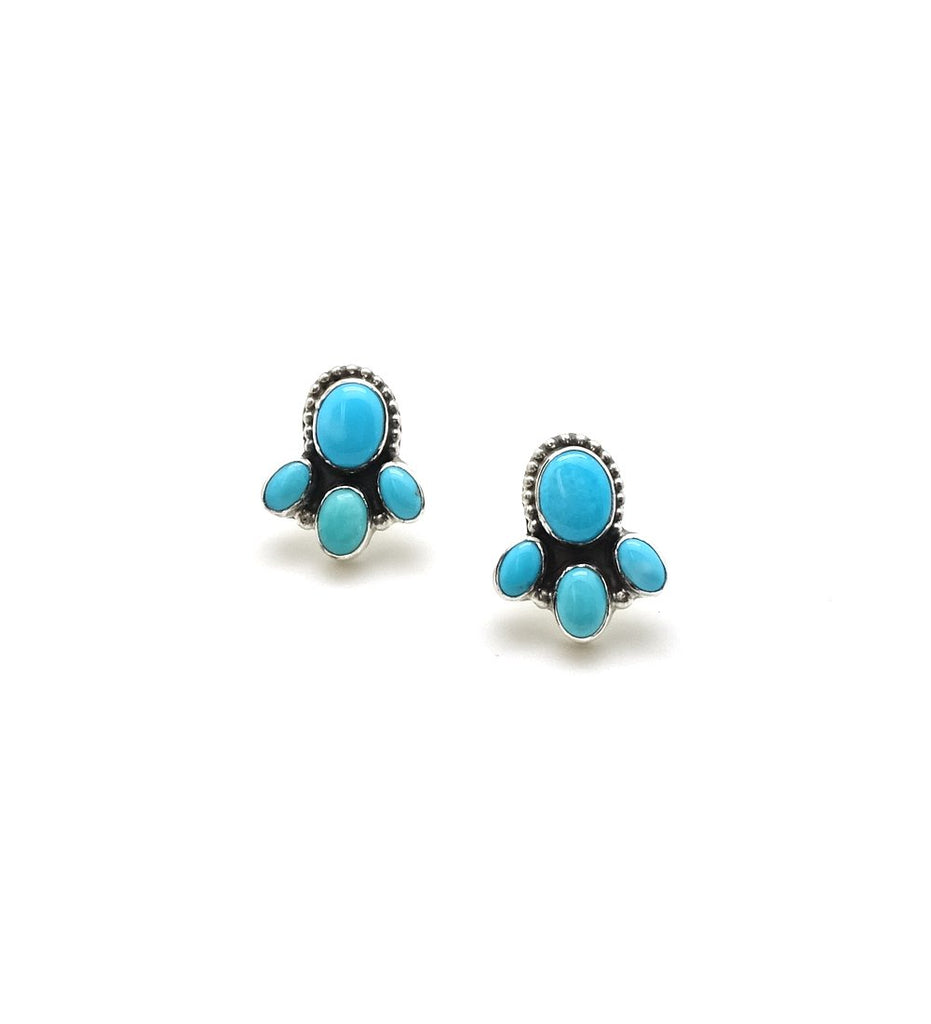 Four Oval Stone Turquoise Earrings