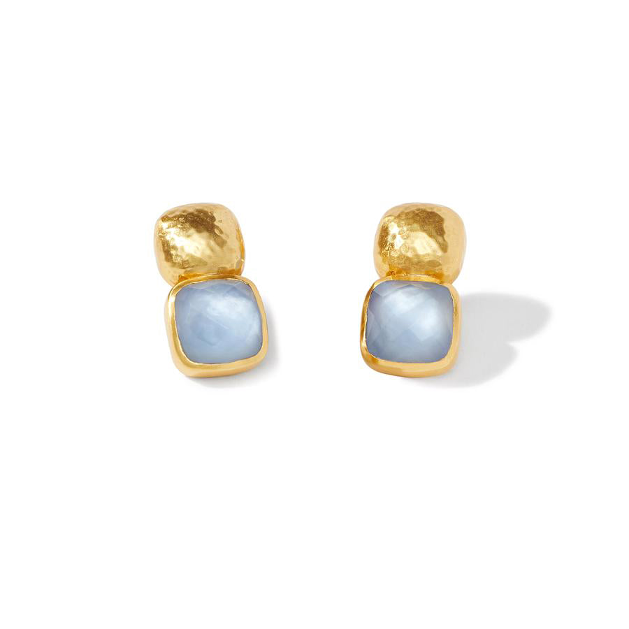 Catalina Earring with Iridescent Chalcedony Blue