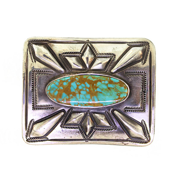 Vintage 1970s Turquoise Mountain Belt Buckle