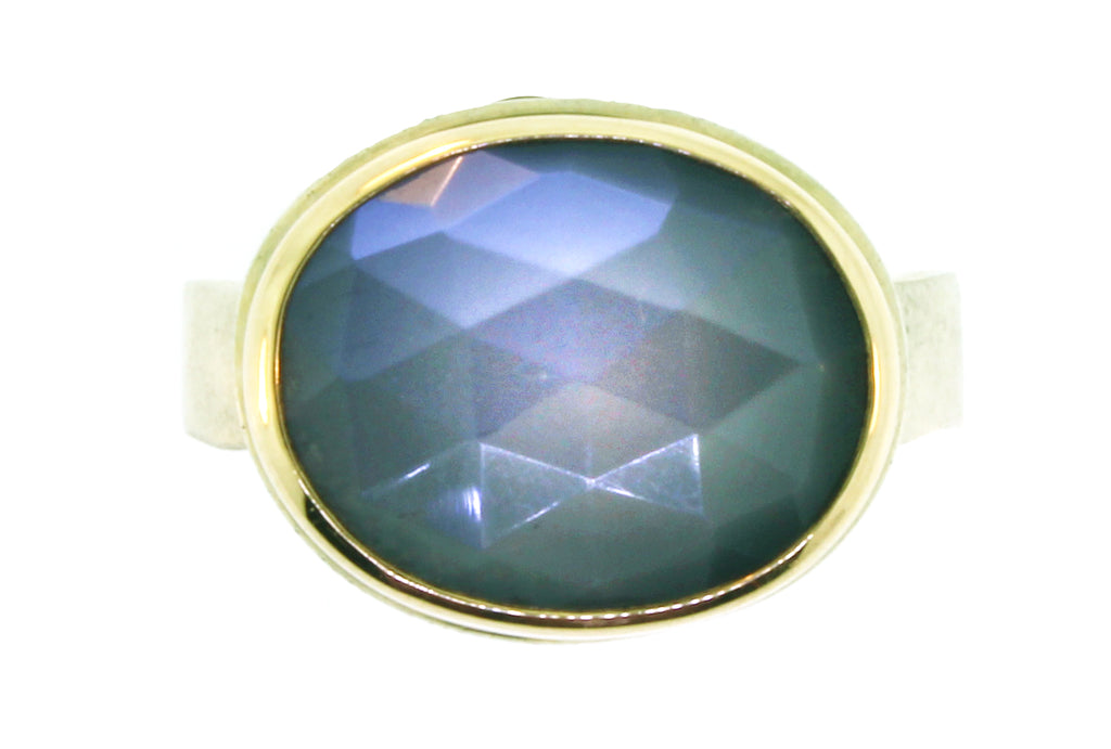 Sterling and Gold Faceted Grey Moonstone Ring