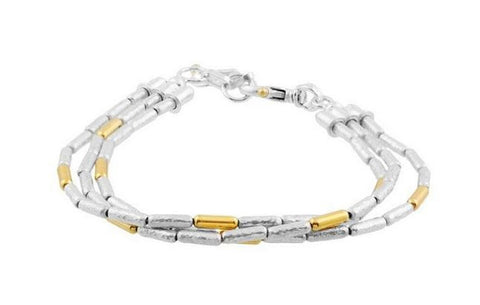 Sterling Silver Bead Bracelet With 24k Yellow Gold Accents