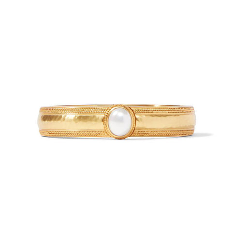 Coin Hinge Bangle With Pearl