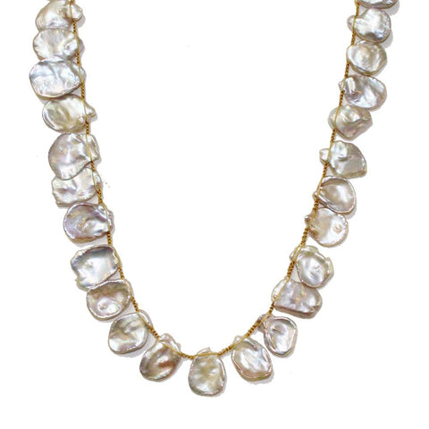 Keishi Pearl Macrame Necklace