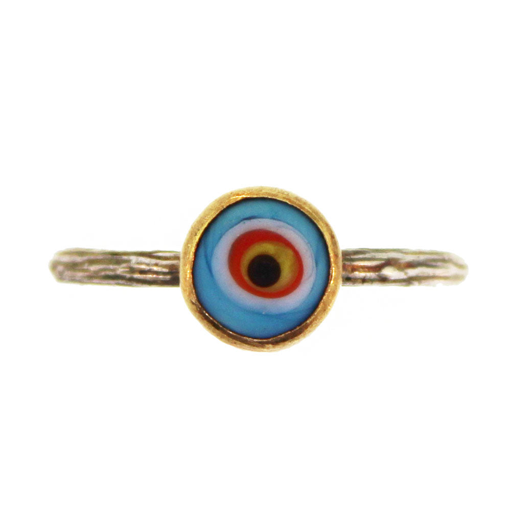 Mini Blue Quartz Evil Eye Ring