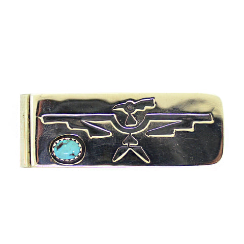 Elsie Begay Turquoise Accent Thunderbird Money Clip