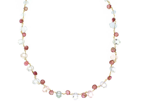 Aquamarine and Pink Tourmaline Necklace