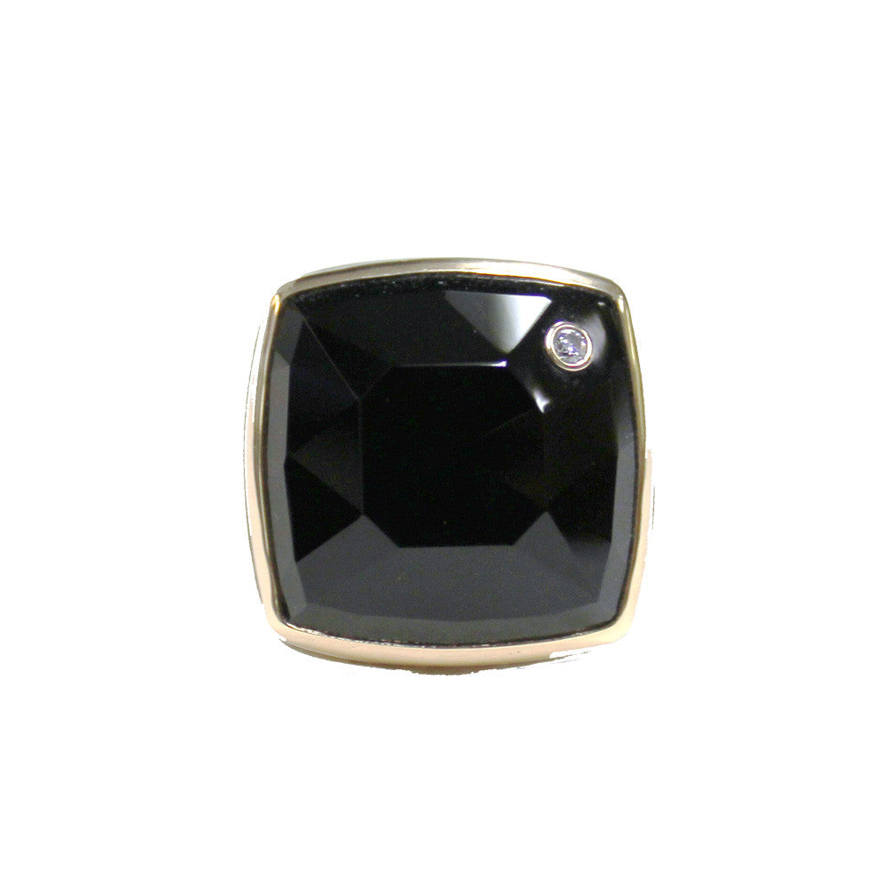 Square Rose Cut Black Onyx Ring