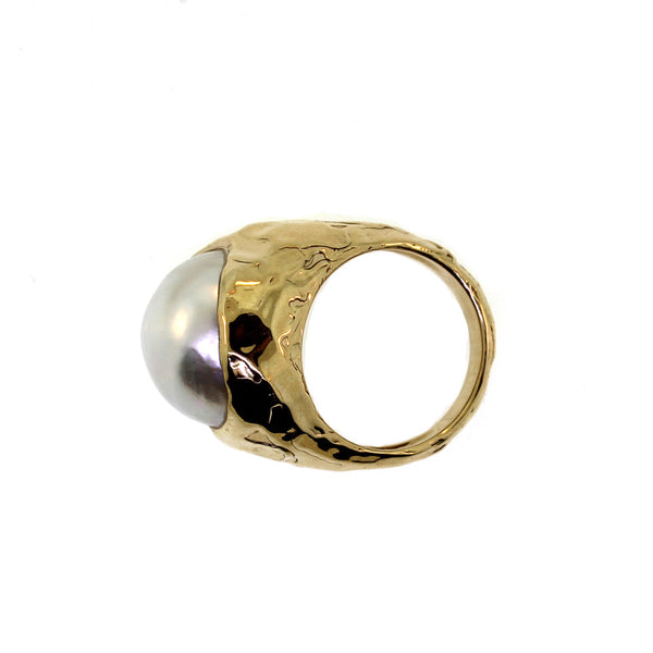 Pearl and Gold Hammered Ring