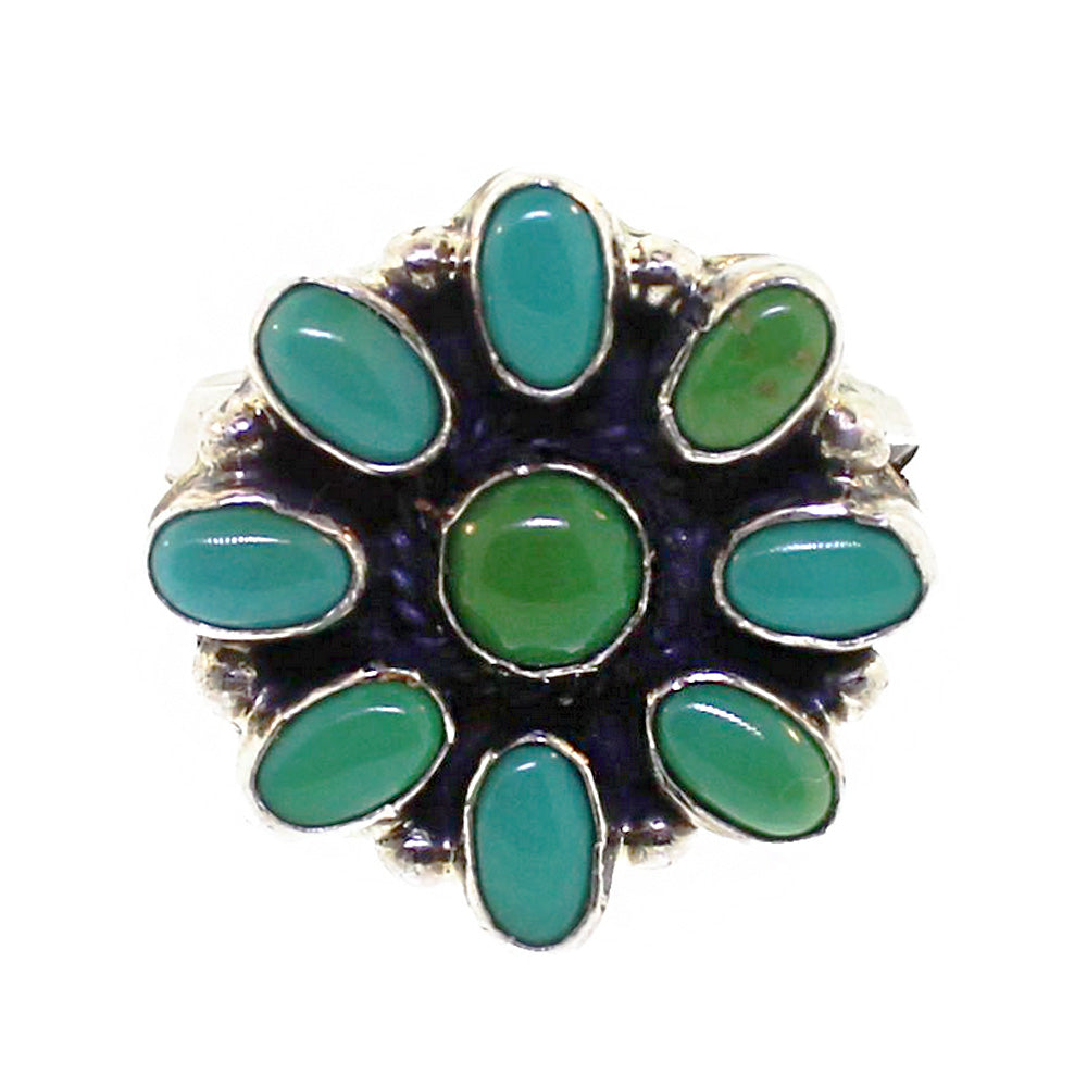 Round Green and Blue Cluster Ring