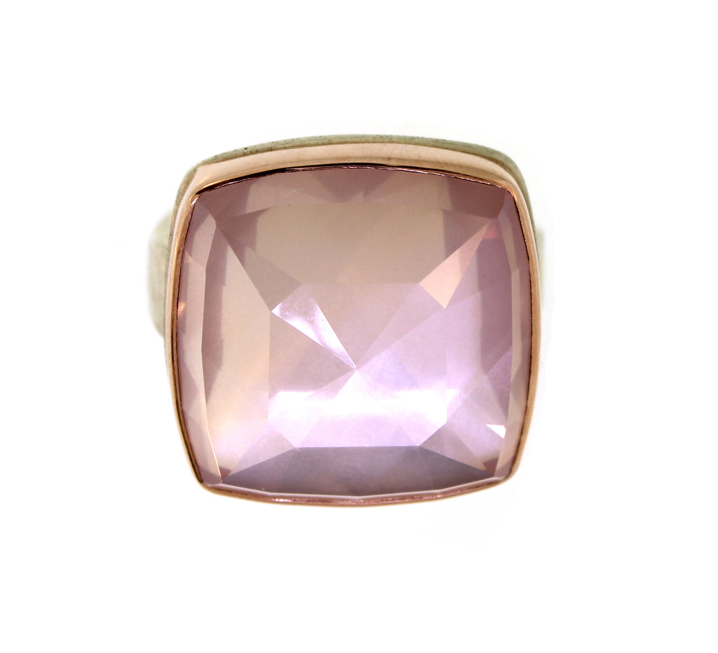 Rose Gold and Silver Faceted Rose Quartz Square Ring